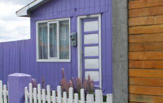 Lila Haus mit Lupinen