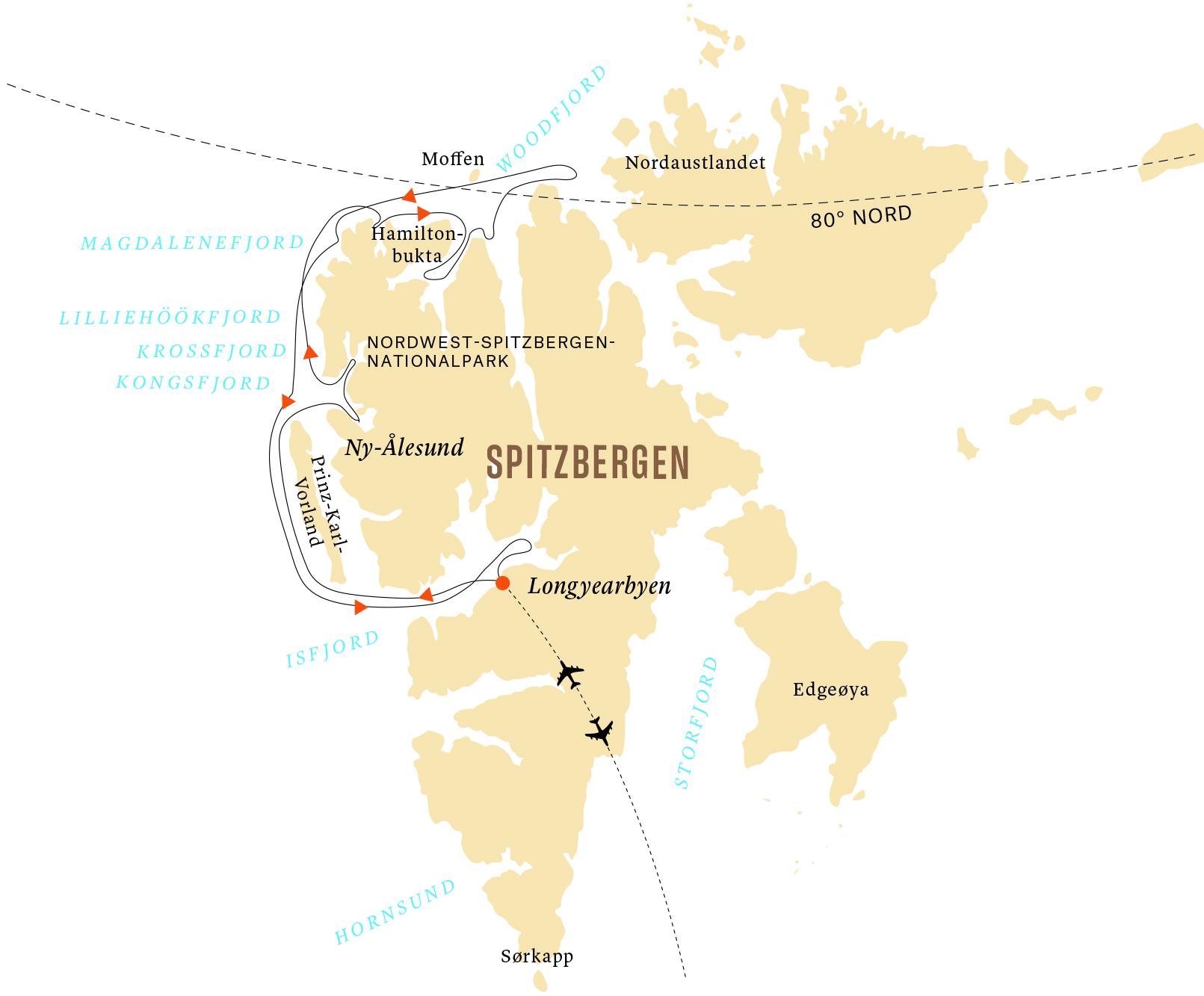 Route Spitzbergens Westküste