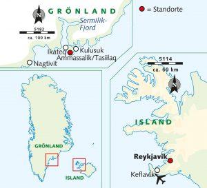 Karte Ostgrönland mit Wikinger