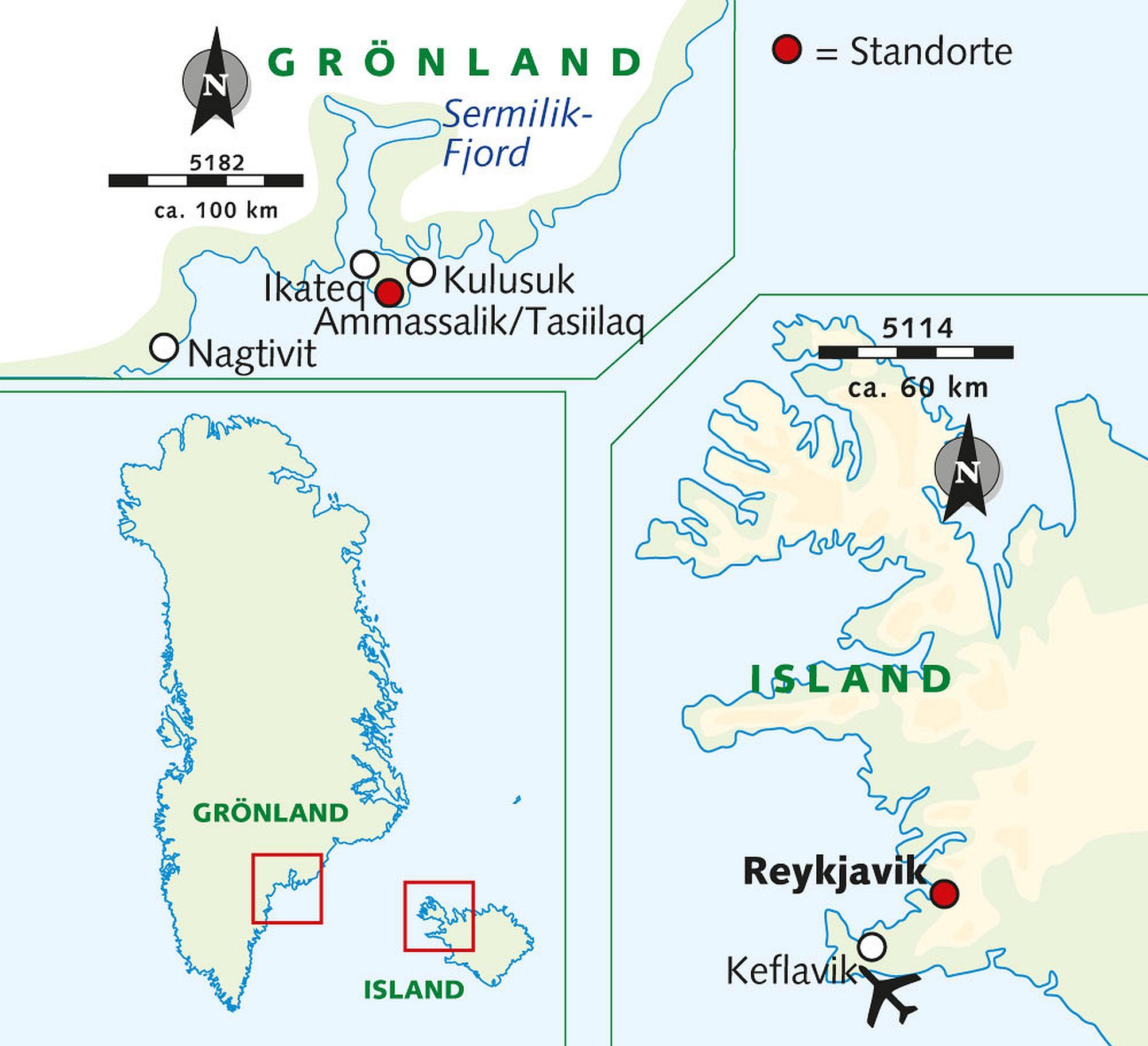 Karte Grönland Winterreise