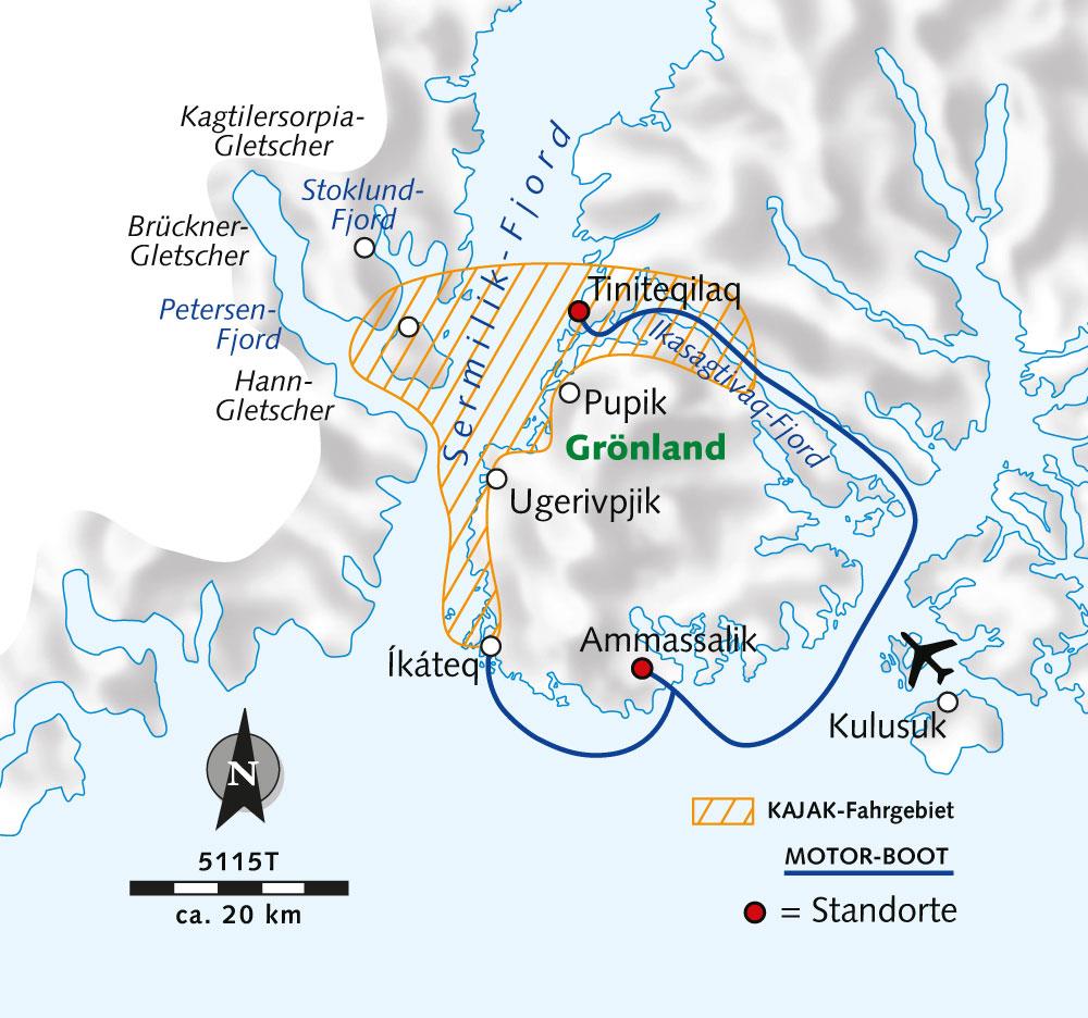 Routenkarte WR Kajakerlebnis Ostgrönland