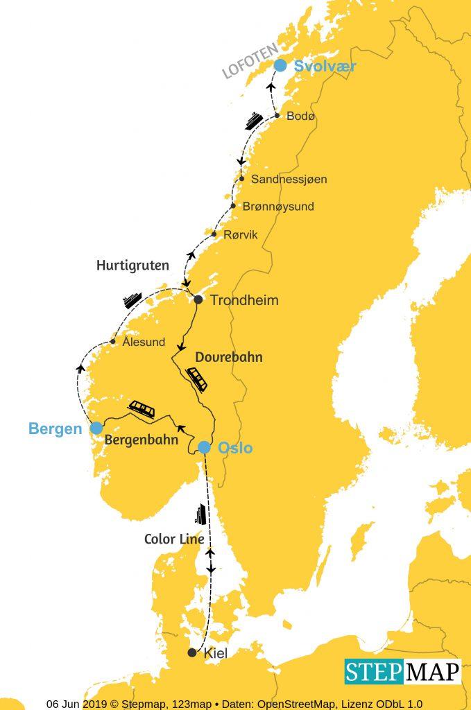 Route Mit dem Postschiff auf die Lofoten