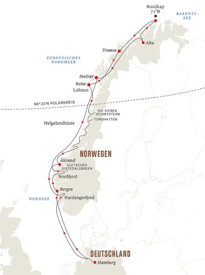 Reiseroute ab Hamburg Winte0r 2022-23